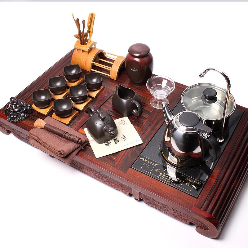 宜兴紫砂茶具 自动加水电磁炉红木茶盘
