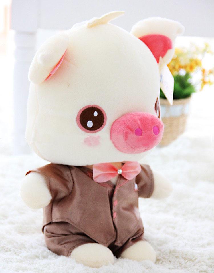 可爱婚纱麦兜猪公仔 情侣猪毛绒玩具娃娃一对结婚礼品