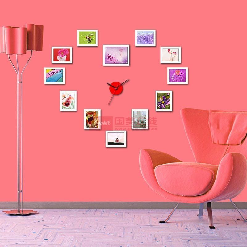 润格12框心形挂钟照片墙 欧式创意组合相框墙 婚纱照相片墙白色组合