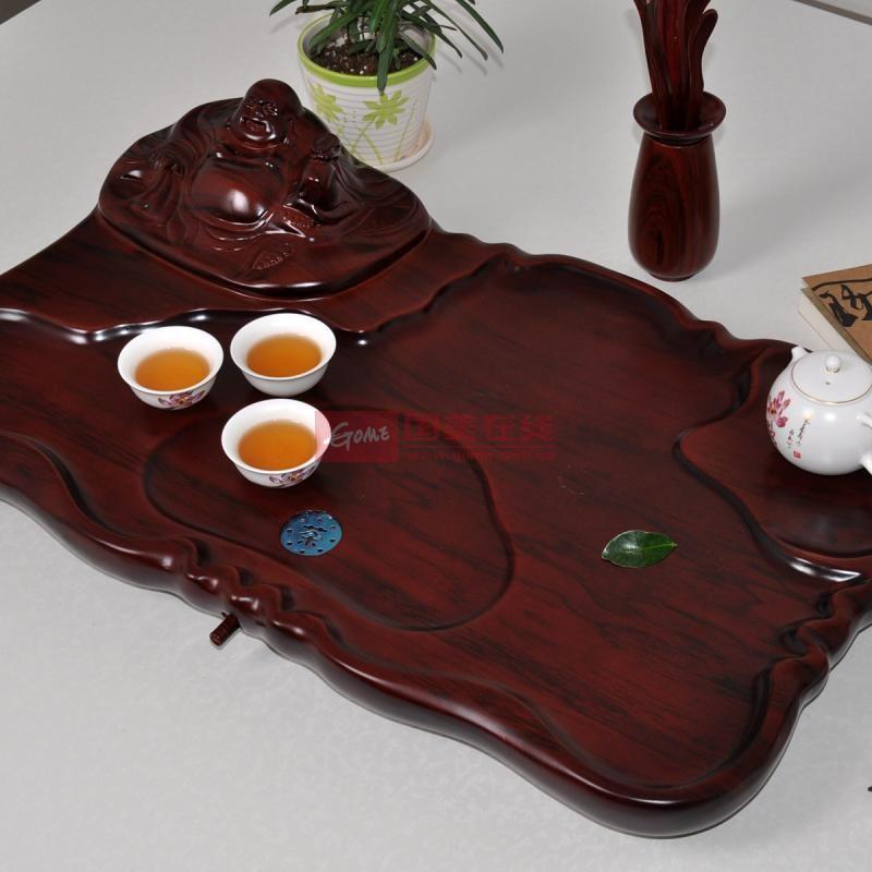 祥福茶具 弥勒佛茶具 仿红木茶海 特价实木茶盘 红色xf006