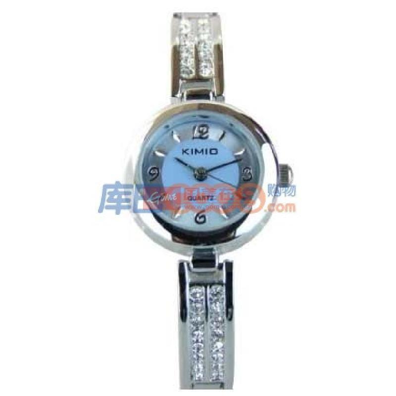 正品 金米欧kimio女表 纤巧优雅水晶钻手链手表 蓝色