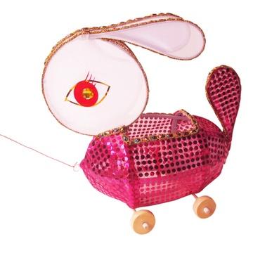 传统纯手工兔子灯笼 元宵中秋花灯儿童玩具 滚轮拖拉