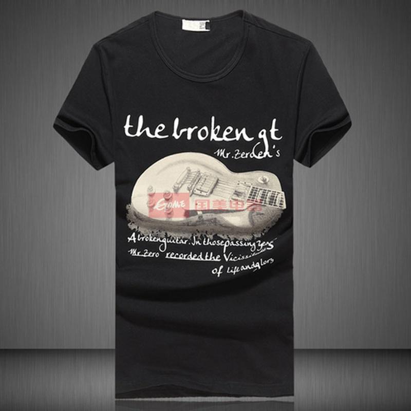 短袖t恤夏装新款摇滚吉他印花修身男t恤衫