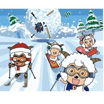 绷好内框 滑雪喜羊羊 卡通动物系列手绘油画 填色画装饰画图片