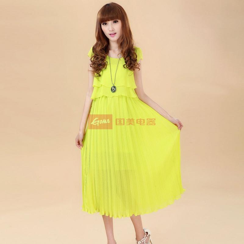 laclos 2013夏季女士短袖圆领雪纺百褶裙 波西米亚沙滩裙子 92971图片