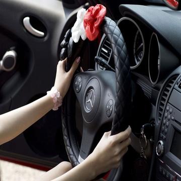 汽车方向盘套韩国可爱公主女生花朵方向盘套把套