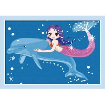 华庭丽娜diy数字油画 20x30 人鱼伙伴 学习绘画简单容易画