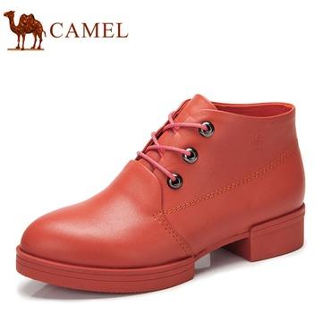 camel骆驼女鞋头层牛皮系带休闲单鞋2013秋季高帮鞋8