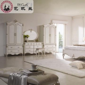 艺凯丝 欧式奢华实木大衣柜 白色仿古卧室双门衣橱 品牌组合衣柜