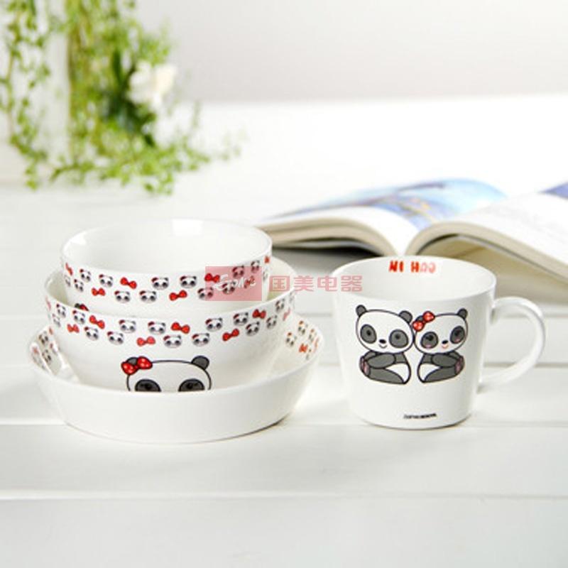 甜甜熊 陶瓷餐具四件套装 陶瓷碗组合 礼盒包装 ajh38图片