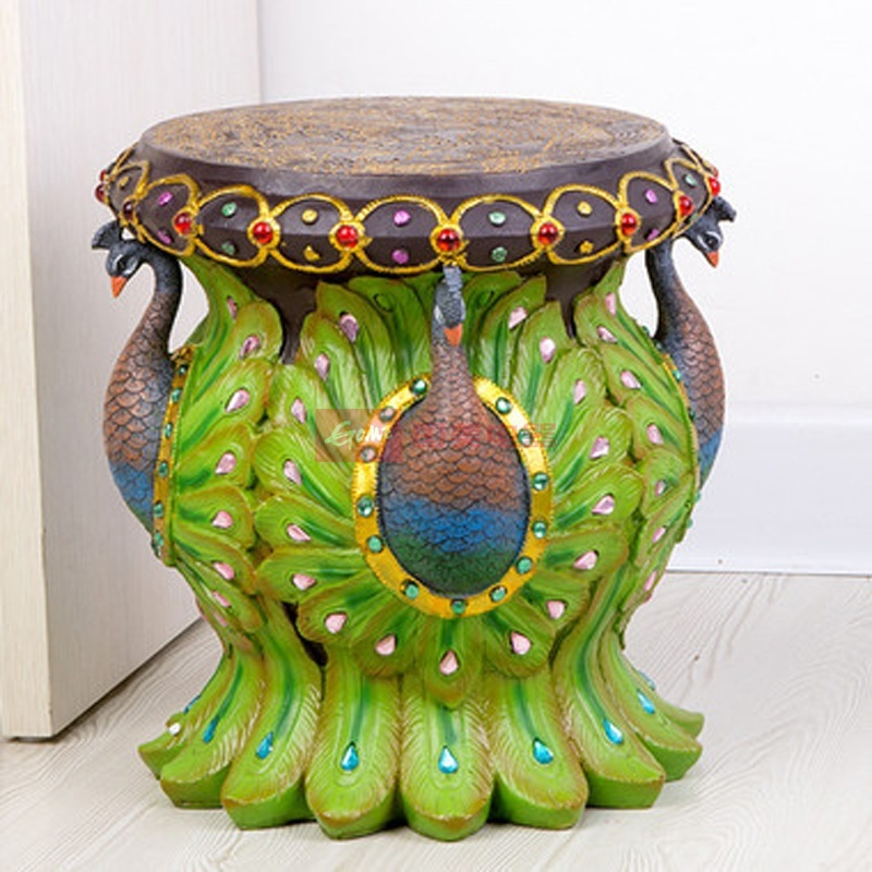 创意摆件 斯里兰卡蓝孔雀凳子 树脂矮凳 圆形板凳 ajh210