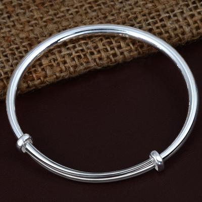 艾语珠宝 经典 实心 圆形银手镯 s999千足银镯子 约26