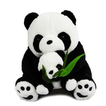 可爱母子熊猫公仔毛绒玩具仿真大熊猫趴趴熊生日礼物礼品(20cm)