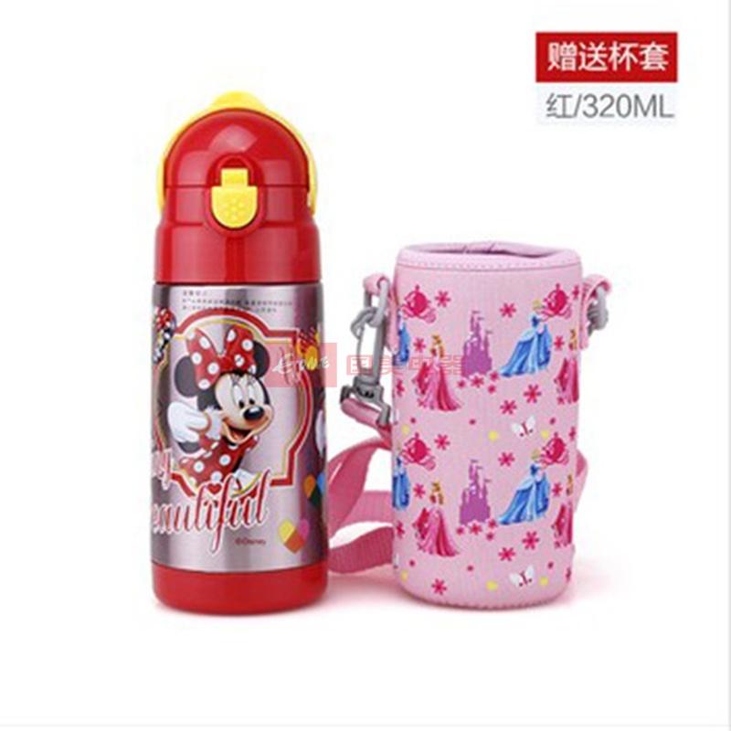 正品迪士尼儿童保温杯带吸管 不锈钢可爱杯子小学生宝宝水杯 包邮