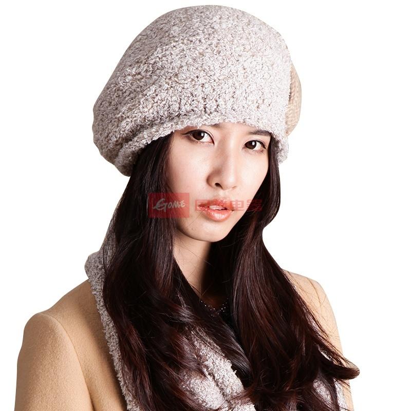 国美为您找到 乐为冬季帽子女士韩版潮针织帽时尚贝雷帽可爱