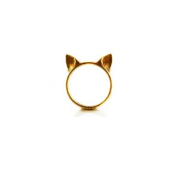 海外直购 纯手工制作 创意俏皮可爱猫耳朵镀金戒指