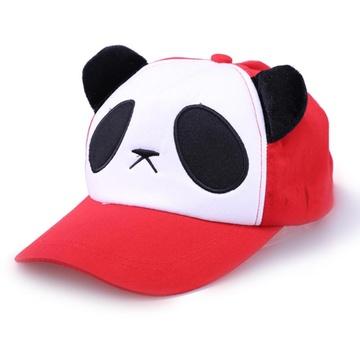 可爱熊猫耳朵棒球帽女帽 女士卡通动物帽子遮阳帽韩版秋季(红色布面款
