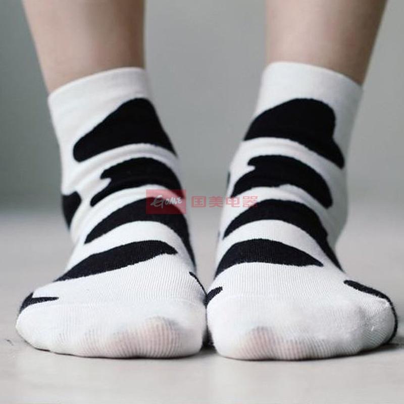 韩国可爱清新个性创意 黑白奶牛纹 纯棉短袜男女生袜