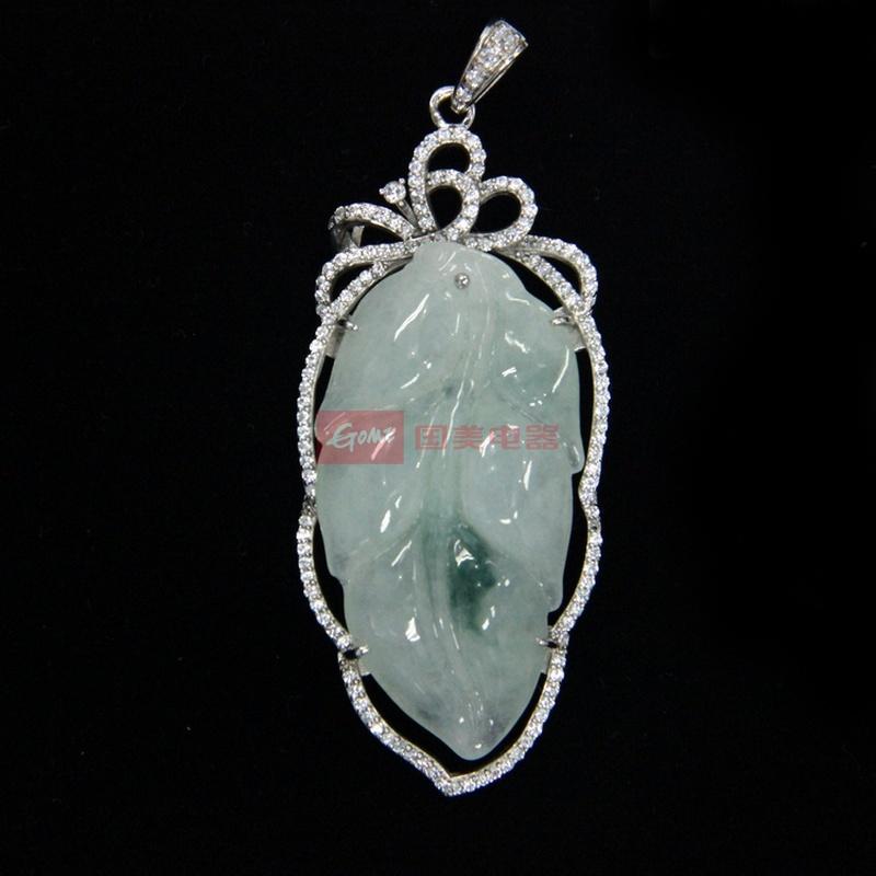 糯种 飘花 镀银镶嵌人工宝石(权威检测证书)包邮安欣儿翡翠玉石