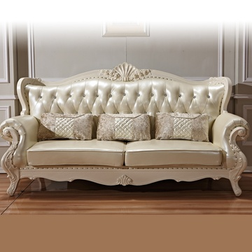 欧式沙发 白色真皮沙发