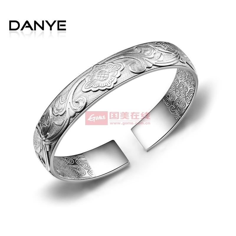 【danye】 999千足银手镯 女 古藤浮雕花纹纯银镯子 复古手环