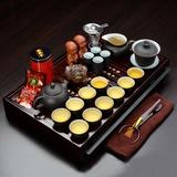 君肴 紫砂功夫茶具28件套 整套茶具套装 实木茶盘 可蓄水可排水 双用抽屉式(紫砂内白)