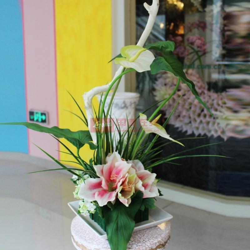 【创意礼品坊鲜花速递大图】大型餐桌花艺仿真花绣球.