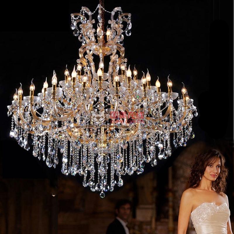 欧式水晶大吊灯 复式楼客厅大吊灯夹片灯