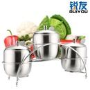 锐友304不锈钢调味罐套装厨房用具调料盒3罐配架