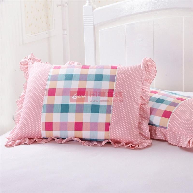 韩式碎花斜纹枕头套枕罩花边
