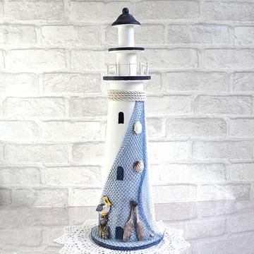 地中海装饰灯塔 木质了望塔 做旧海洋风工艺品摆件 摄影道具橱窗摆件
