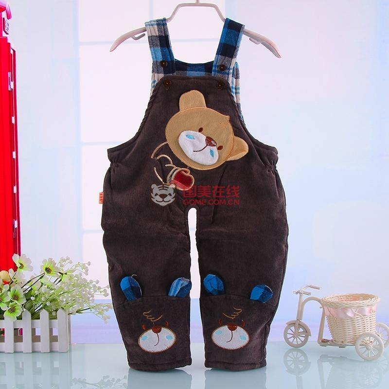 2014冬季新款儿童保暖小熊可爱背带裤 婴幼儿衣物加厚