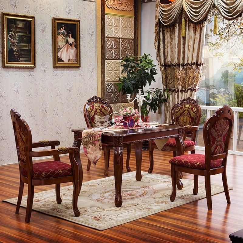 欧式餐桌椅 法式深色实木雕花餐桌实木餐厅家具