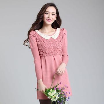 富億羊 女士顯瘦娃娃領中長款羊毛衫連衣裙 8935(粉色圖片