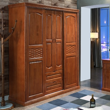 禧乐菲 实木衣柜 橡木四门推拉衣柜 卧室衣橱 现代中式风格(海棠色)