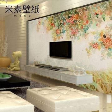 米素壁畫溫馨浪漫客廳臥室電視墻背景墻壁紙墻紙彩繪月季(無紡布/平方