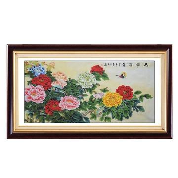 国墨斋花鸟国画牡丹画四尺横幅已装裱客厅办公室挂画