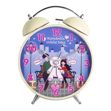 汉时(hense) 闹钟 创意儿童卡通可爱小熊静音懒人小闹钟座钟 ha60