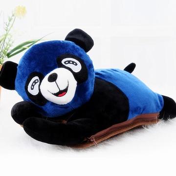 耀点100 超可爱趴趴熊可拆洗双插手热水袋/电暖袋 未注水--深蓝色(821