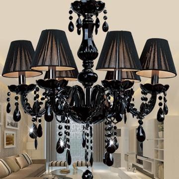 黑色水晶吊灯欧式蜡烛灯现代简约客厅餐厅卧室复古水晶灯具 8008(不带