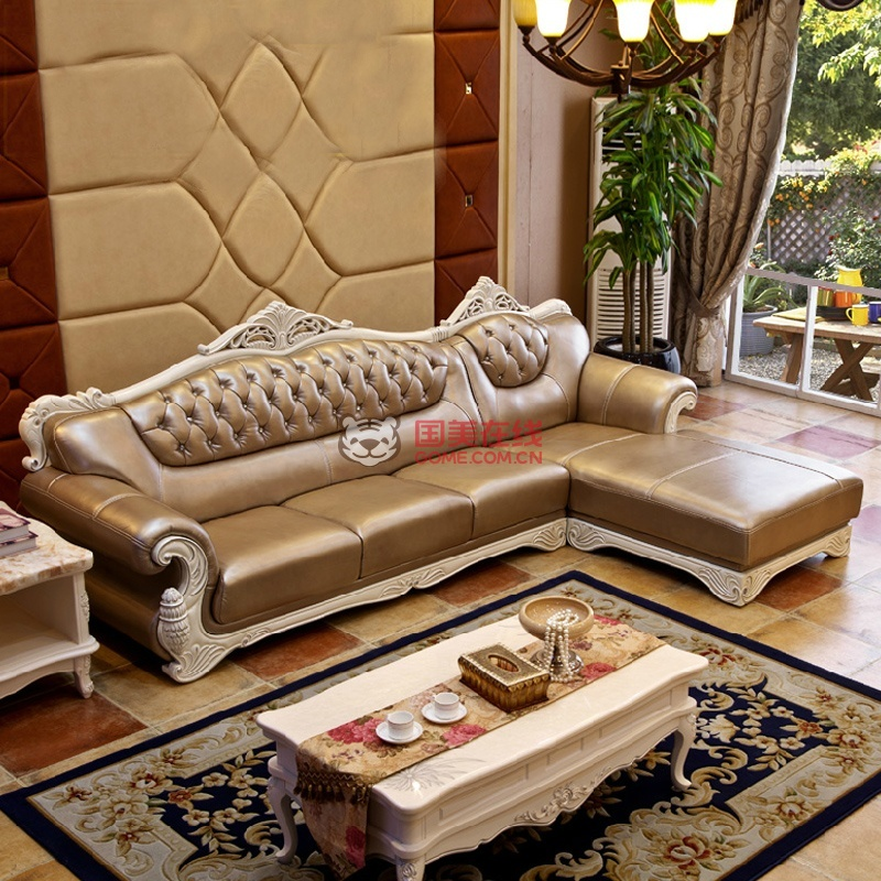 高档奢华简欧真皮沙发转角 实木沙发别墅大户型家具(金黄色 【进口皮