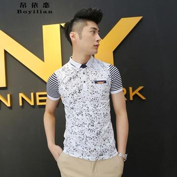 新款男装韩版休闲修身纯棉印花打底衫不规则涂鸦翻领短袖弹性t恤(白色