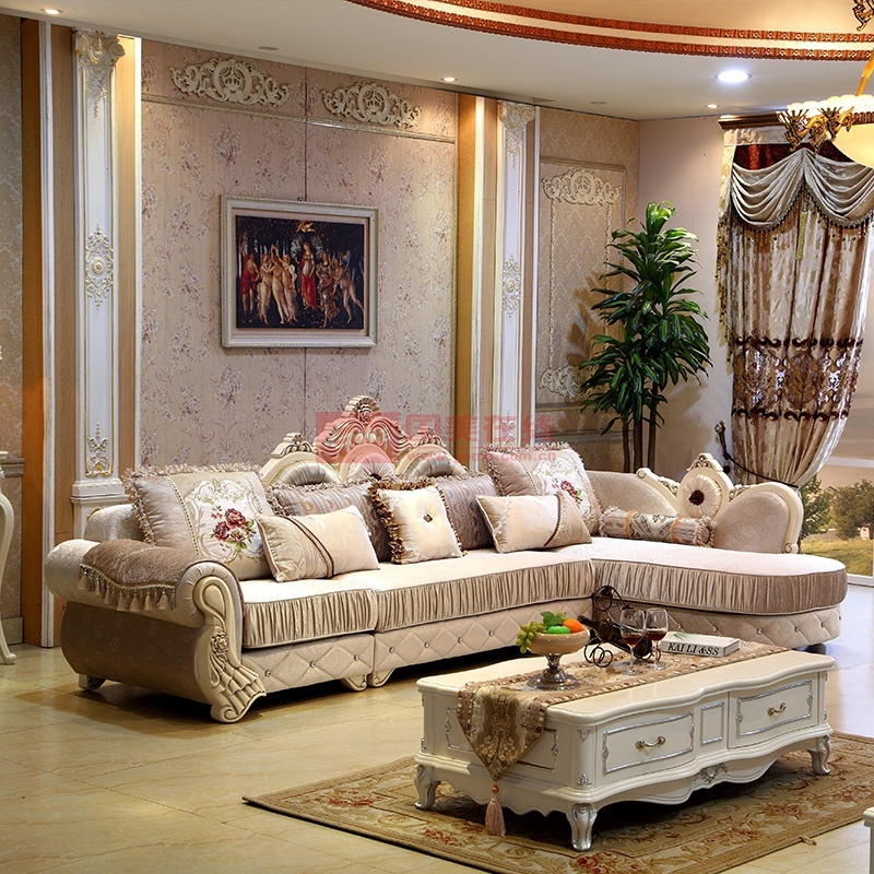 欧式布艺沙发组合 布沙发 新古典后现代简欧实木贵妃