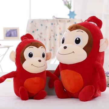 可爱大嘴猴公仔毛绒玩具 猴子玩偶恶搞布娃娃(红色香肠猴 35cm)