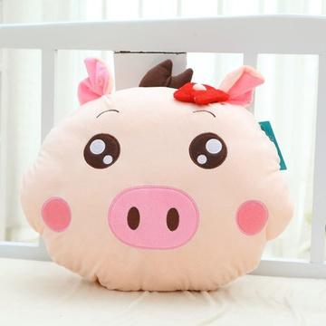 可爱萌猪头暖手抱枕暖手捂 情侣毛绒玩具猪猪一对 创意生日礼物女(女