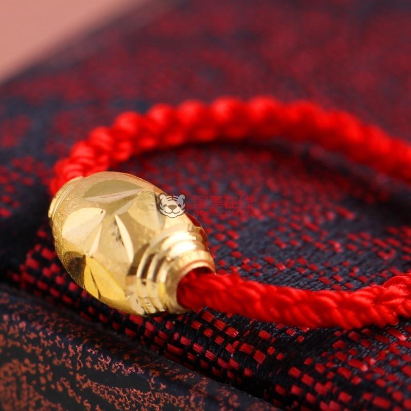 思无邪 红绳黄金戒指 女士金戒指 情侣款转运珠足金戒指 (0.20克)