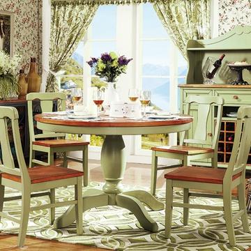 百全实木圆餐台欧式餐桌椅组合军绿色圆餐桌大餐台