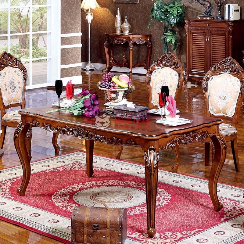 怡凡家具欧式新古典全实木橡木雕花餐桌美式复古仿古*