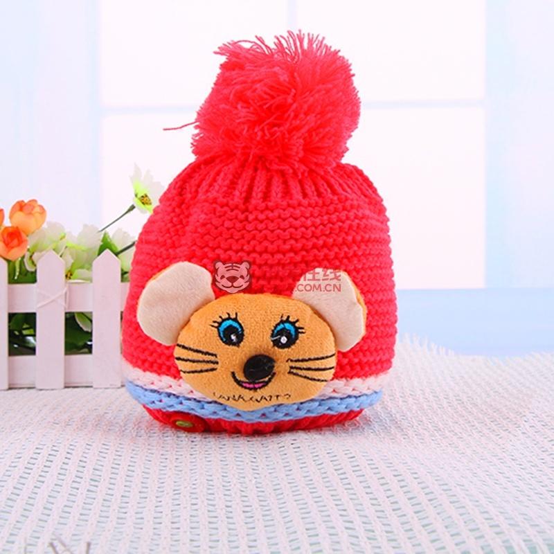 秋冬加厚加绒保暖帽子 男女童保暖可爱小老鼠帽子 帽