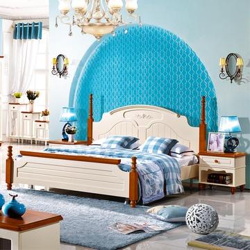 床地中海床美式乡村床实木床双人床地中海风格欧式床